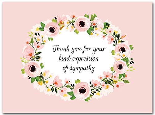 (25x Funeral Thank You Cards with Envelopes - Blank Floral Sympathy Acknowledgement Thank You Notes for Personalized Thanks and Appreciation)