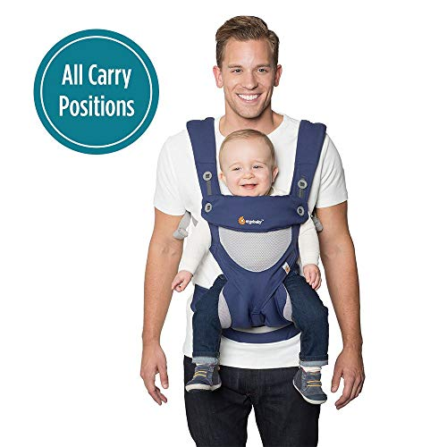 Ergobaby Carrier, 360 All Carry Positions Baby Carrier with Cool Air Mesh, French Blue (Best Baby Carrier For 20 Lbs)