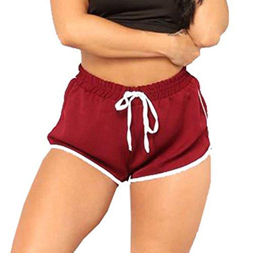 Price comparison product image Clearance Sale!FarJing Women High Waist Yoga Pants Bandage Elastic Waist Casual Short Pants(L, Wine)