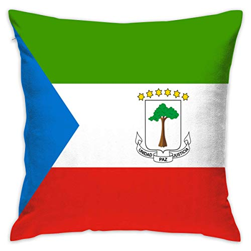 Asefcnxkjii Throw Pillow Covers Flag of Equatorial Guinea Print 18 X 18 Bed Pillowcases Cushion Case - Premium,Ultra Soft ()