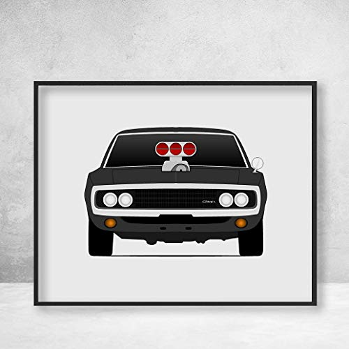 Fast and the Furious Dodge Charger Dominic Toretto (Vin Diesel) Poster Print Wall Art Handmade ()