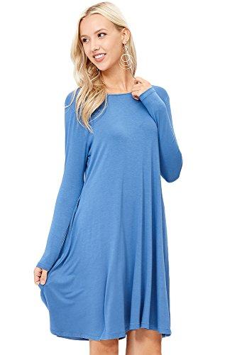 Annabelle Women's Solid Color Scoopneck Long Sleeve A-Line Pocket Swing Dress Blue Denim Small D5239