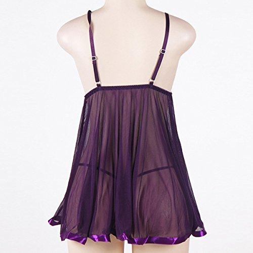 De Gran Tamaño Señoras De Encaje Falda De Los Apoyos Ropa De Noche Pijamas Purple