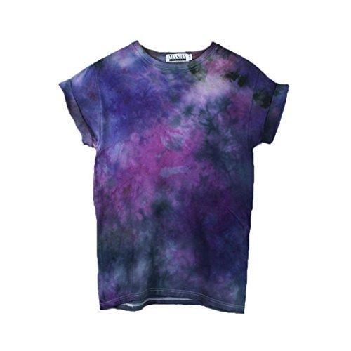 39e5ea4bd26cf1 Amazon.com  Black Purple Tie Dye Unisex T-Shirt Pattern Shirt short Sleeve  Plus Size S