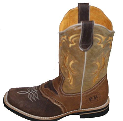 Mannen Cowboy Echt Leer Vierkante Neus Rodeo Westerse Laarzen Bruin-tan