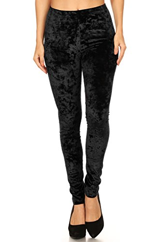ICONOFLASH Womens Crushed Velvet Leggings (Black, Small)