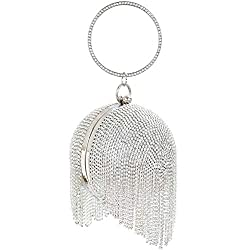Silver-C Round Ball Clutch With Rhinestone Tassles & Ring Handle