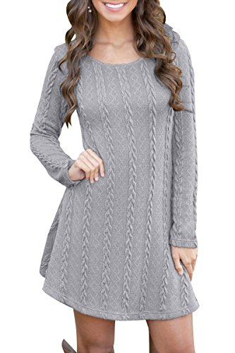 YMING Women's Loose Fashion Fall Casual Knitted Round Neck Sweater Dress Grey 3XL - Round Neck Sweater Dress