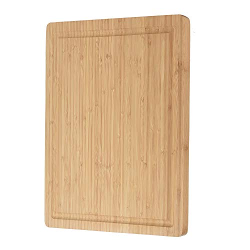 ZESPROKA Extra Large Bamboo Cutting Board (16 x 12 x 1 Inches) with Juice Grooves -Wooden Chopping Board for Meat, Vegetables, Fruit&Cheese - Non Slip & Non Stick Design- Butcher Block for Kitchen