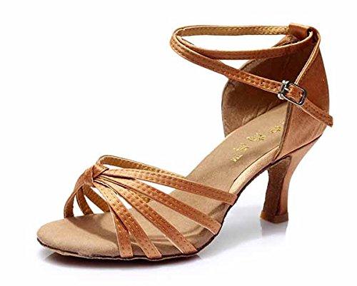 YFF Neue Women's Ballroom Latin Tango Schuhe 5 cm und 7 cm hohem Absatz,Braun 1 7 cm,3,5