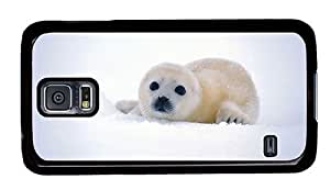 Hipster Samsung Galaxy S5 Case rubber cover Cute Baby Seal PC Black for Samsung S5