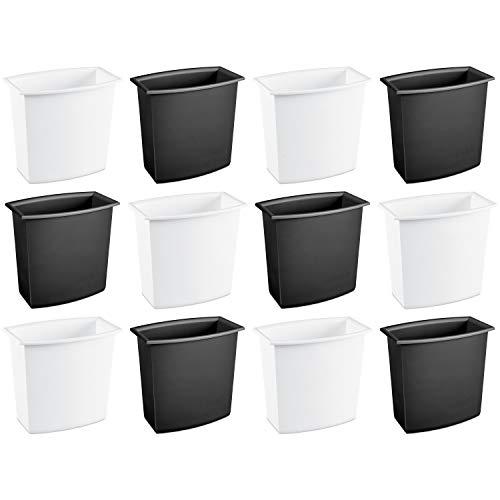 (Sterilite 10220012 2 Gallon/7.6 Liter Rectangular Vanity Wastebasket, Black/White, 12-Pack)