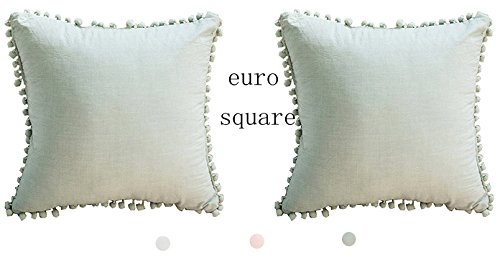 Meaning4 Pom Poms Cotton Throw Pillow Cases Green European Square 26 x 26 Set of 2