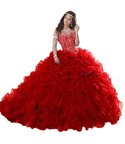 (APXPF Women's Heavy Beaded Organza Ruffle Quinceanera Dresses for Sweet 16 Prom Ball Gowns Red US2)