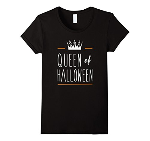 Women's Queen of Halloween Cute Funny Costume Pumpkin Tee Large Black (Funny Cute Women Halloween Costumes)