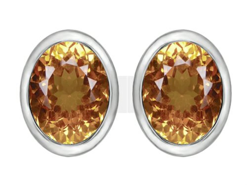 oval imperial topaz stud earrings - 3
