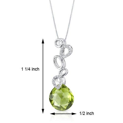 Revoni 14ct or blanc 585/1000 Double Sided forme de poire 5.25 carats péridot Pendentif diamant