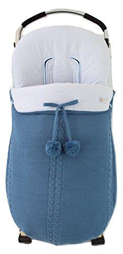 Saco silla de paseo universal de invierno en punto de lana y algodon de rayas. Modelo sophie. Azul/azul