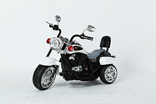 CHOPPER STYLE ELECTRIC RIDE ON MOTORCYCLE FOR KIDS - 6V BATTERY POWERED 3 WHEEL RIDE ON TOY FOR BOYS, GIRLS, AND TODDLERS - WHITE