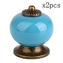 Blue Ceramic Knobs Drawer Knob Door Handle Cabinet Knobs, Retro Style Dragon Ball Cupboard Knob by Choubao - 2pcs