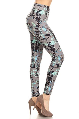 Leggings Depot Ultra Soft Women's Popular Best Printed Fashion Leggings Batch32 (Natural Vines, One Size (Size 0-12)) Fashion Knit Legging