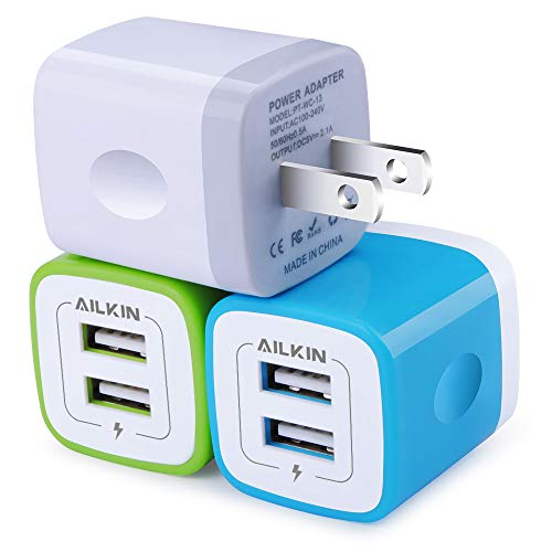 Wall Charger, Ailkin [3-Pack] 5V/2.1AMP Colorful Dual Port USB Wall Charger Home Travel Plug Power Adapter for iPhone 7/7 Plus, 6s/6s Plus, Samsung Galaxy S7 S6, HTC, LG, Table, Motorola and More