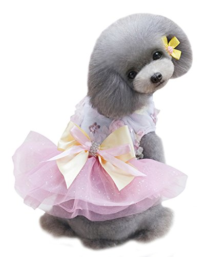 Jersey Chaser Costume (Freerun Pet Dog Floral Bowknot Tutu Skirt Dress Wedding Party Shirt Clothes Costume Apparel - Pink, L)
