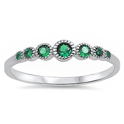 Blue Apple Co. 4mm Half Eternity Petite Dainty Wedding Band Ring Round Simulated Green Emerald 925 Sterling Silver