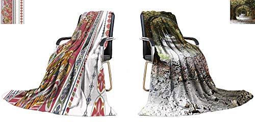 YOYI-home King Flannel Blanket Striped Seamless Ethnic Pattern Paisley Ornamental Wallpaper Weave Pattern Extra Long Blanket 70