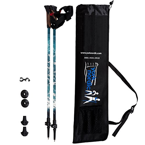 York Nordic Lightweight Adjustable Walking Poles - Made in USA w/Rubber Feet and Travel Bag - Ocean Design - Great for Walking - 8 oz each - Hiking Style Grips (Each Design)
