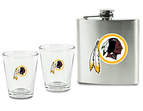 NFL Washington Redskins Shot Glasses &  Brushed Stainless Steel Flask Set