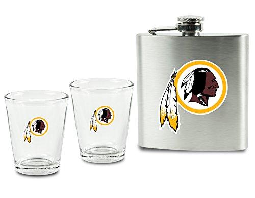 NFL Washington Redskins Shot Glasses &  Brushed Stainless Steel Flask (Washington Redskins Stainless Steel Flask)