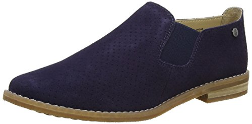 Hush Puppies Womens Analise Clever Flat Royal Navy Suede Traforato