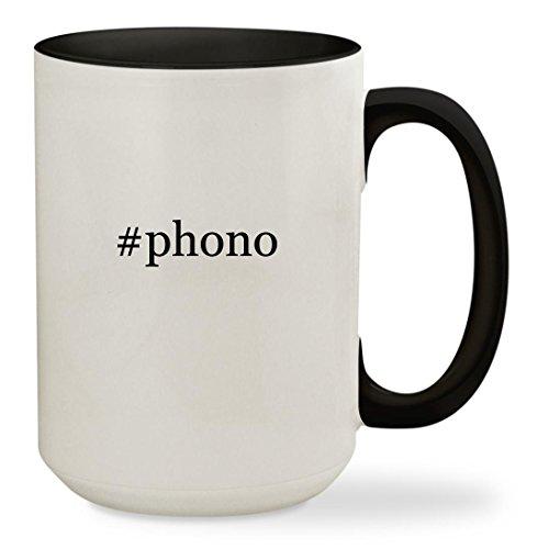 Phono   15Oz Hashtag Colored Inside   Handle Sturdy Ceramic Coffee Cup Mug  Black