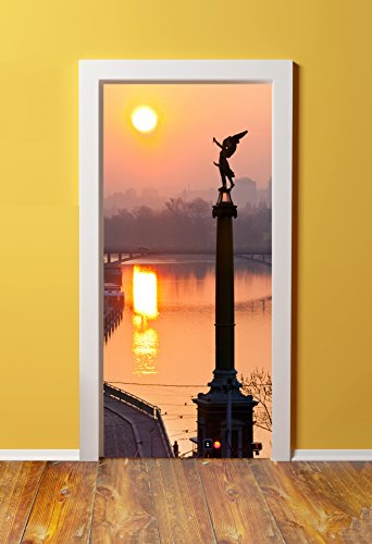 Windowpix DoorPix 36x80 / 36 x 80 3D Door Mural Wrap Glossy Bubble Free Sticker Sunrise Views of Lesser Town Prague - Peel and Stick - Easy-to-Clean, ()