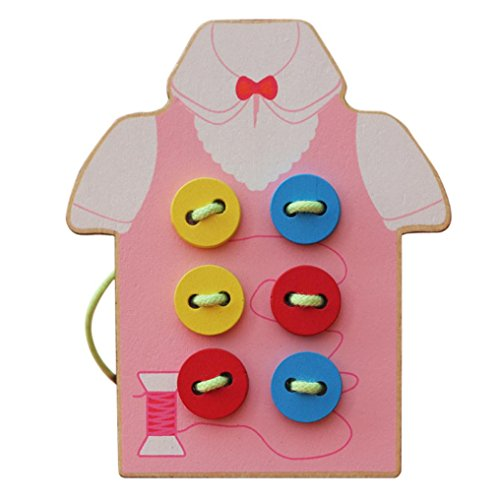 Card Sew (Nacome Toddler Children Wooden Sew On Buttons Basic Skills Board for Early Education (Pink))
