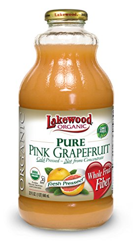 Lakewood Organic PURE Pink Grapefruit Juice, 32-Ounce Bottles (Pack of 6)