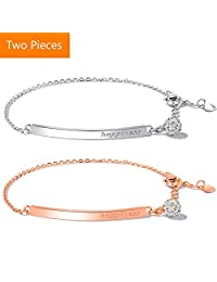 Hamp Camp 2Pcs 18k Rose Gold and Silver Plated Adjustable Chain Bracelets Bangles for Women Gifts for Birthday, Christmas New Year Nickel Free with Luxurious Box
