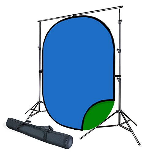 Julius Studio Adjustable Backdrop Support Stand with 5' x 7' Green & Blue Reversible Chromakey Photo Backdrop, JSAG411 by Julius Studio