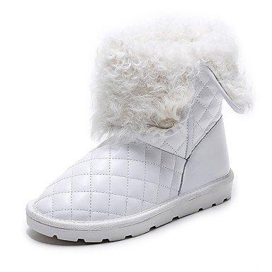 para botas botas blanco Zapatos Casual botas de nieve tobillo Mujer piel de forro de plana blanco talón de negro de invierno pelusas Desy botines AqfHn