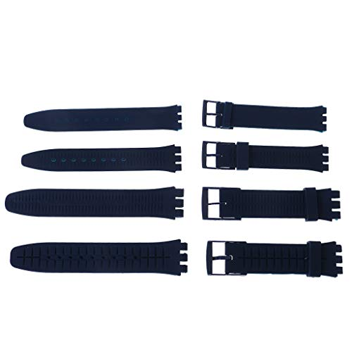 huanban072 Silicone Rubber Watch Band Strap Waterproof Wristband Buckle Watchband for Swatch 17mm Replacement Accessories (White) by huanban072 (Image #4)
