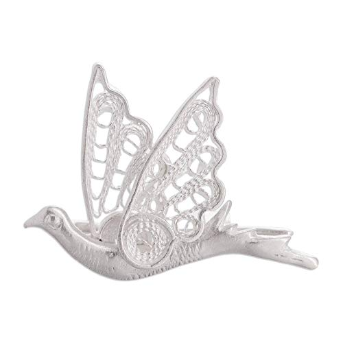 NOVICA .925 Sterling Silver Brooch 'Filigree Dove'