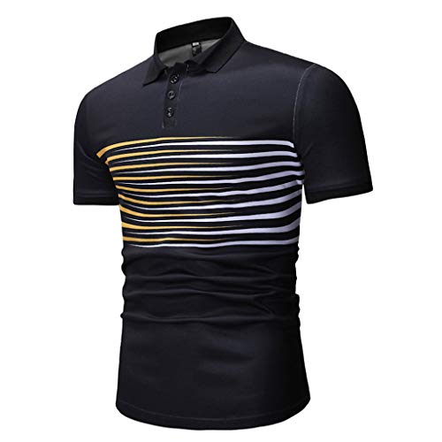 (Summer Stripe Slim Fit Short Sleeve Button Down Polo Shirts for Men Black )