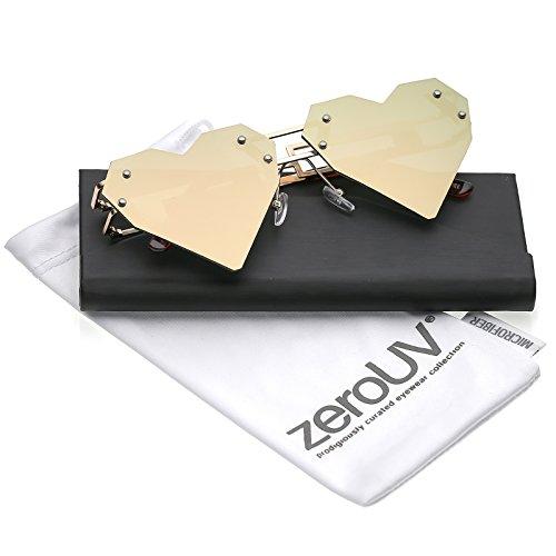 zeroUV - Oversize Laser Cut Metal Arms Rivet Colored Mirror Lens Heart Sunglasses 60mm (Gold / Pink - Sunglasses Laser
