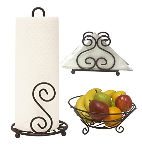 Deluxe Scroll Collection 3pc Kitchen Table Décor Set, Napkin Holder, Paper Towel Stand, Fruit Bowl - Bronze ()