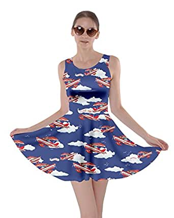 CowCow Womens Biplane in Sky Skater Dress, in - XS