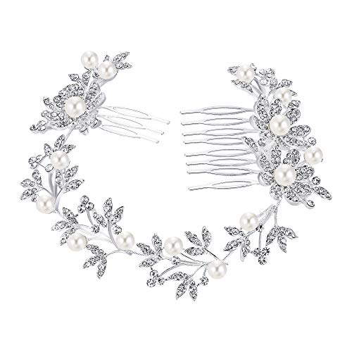 BriLove Wedding Hair Accessory Bridal Headband for Women Bohemian Daisy Flower Crystal Ivory Color Bling Hair Comb Clear Silver-Tone ()