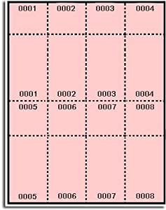 400 label outfitters pink pre numbered raffle for Numbered event ticket template free