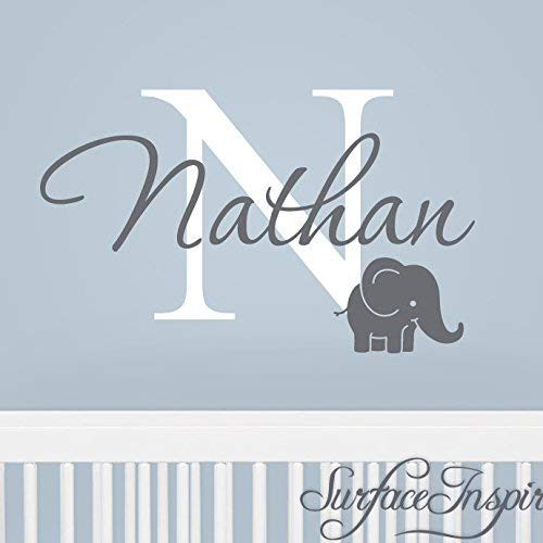 Name Wall Stickers Wall Decal Removable Personalized Name Wall Decal With Elephant Wall Decals Surface Inspired 1047