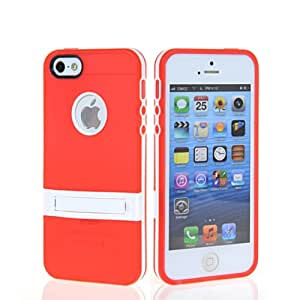 GETLAST New Hot Soft Gel TPU Silicone Stand Multifunction Case Cover + Screen Protector For Apple Iphone 5 5G 5S Red